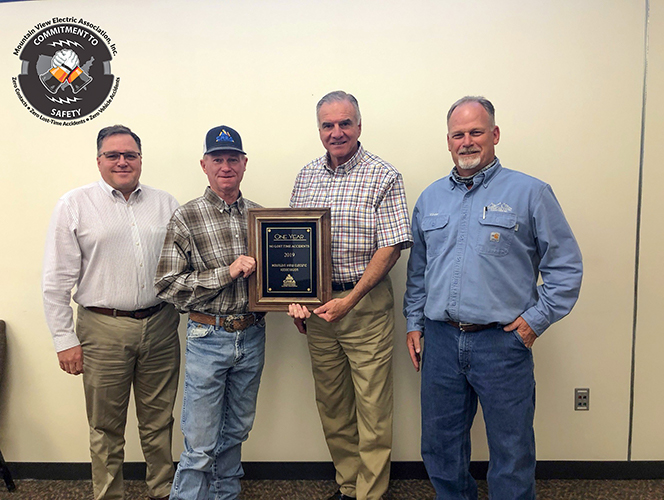 MVEA Earns 2019 No Lost Time Accidents Award from Colorado Rural Electric Association.