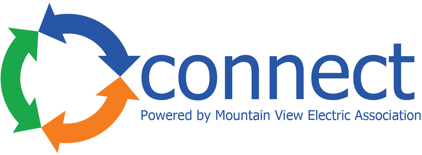 Conexon Connect Powered by Mountain View Electric Association logo. The Conexon logo is illustrated by colorful arrows in a circle with text next to the arrows.