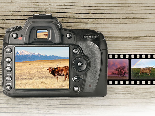 digital camera with photos in the screens. Wood background and film strip.