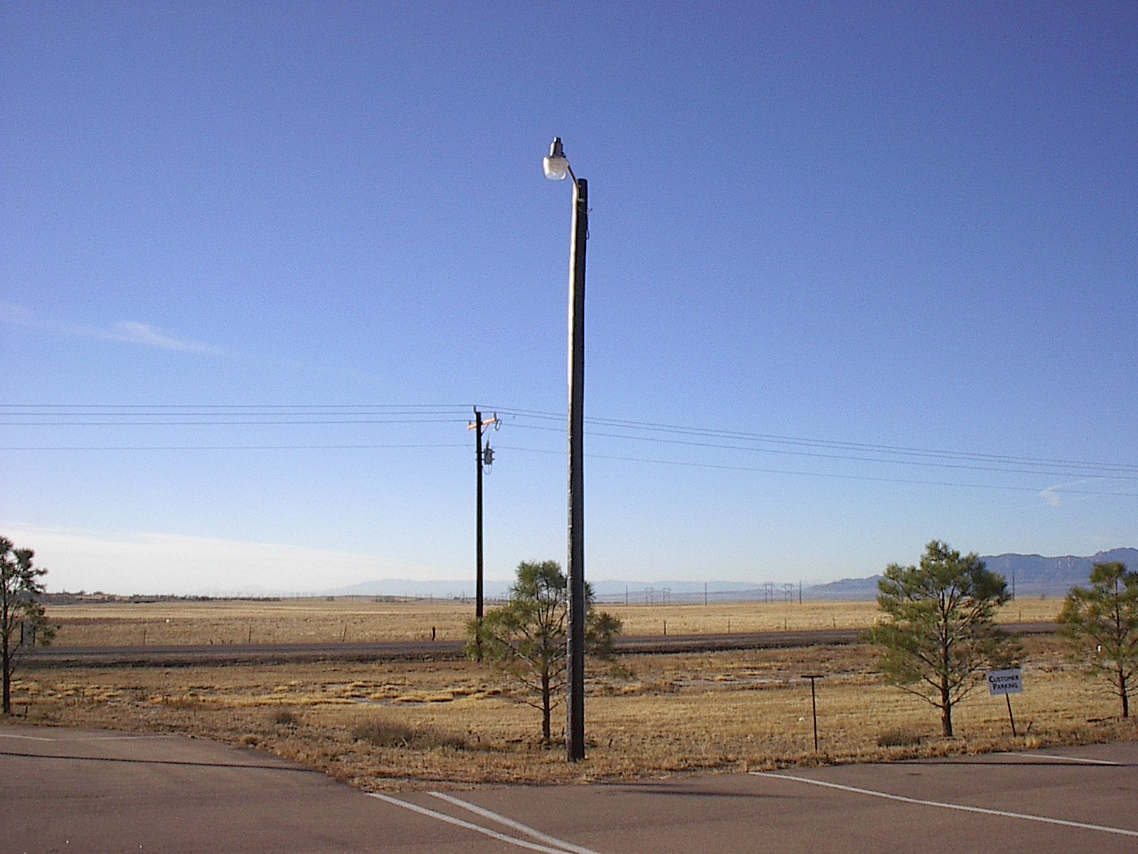 Example of light mounted to wooden pole